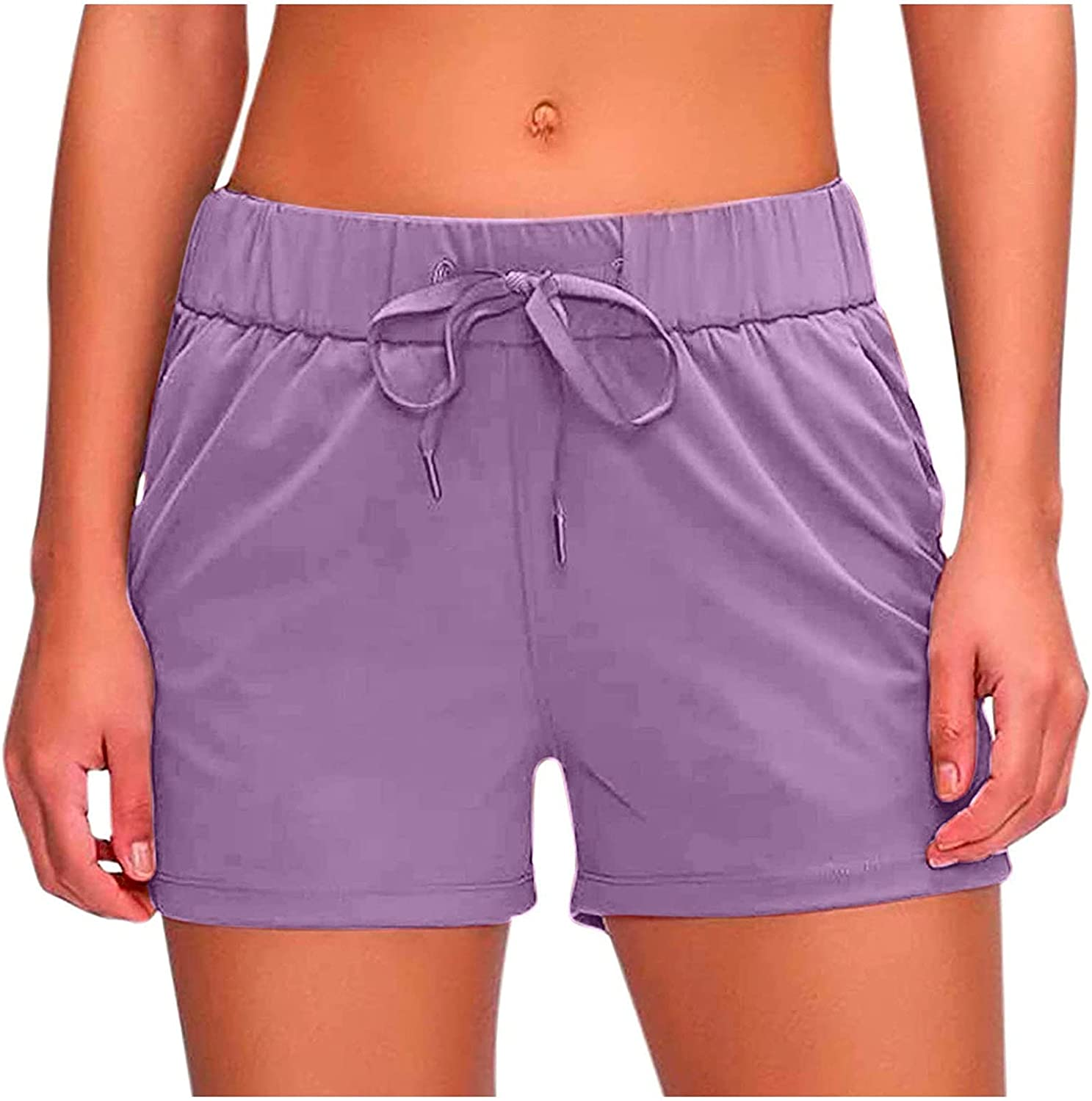 Smooto Quick-Dry Running Shorts Layer Elastic Waist Workout Shorts with Pockets