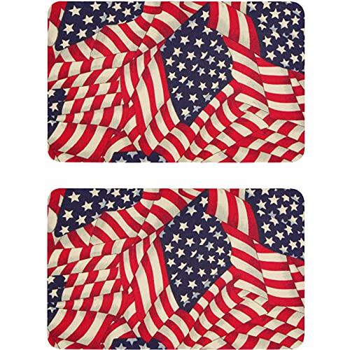 Vnurnrn Placa magnética de la bandera patriótica americana de 4 de julio para lavaplatos, nevera, placa magnética, para cocina y oficina, indicador de lavadora de platos, 2 unidades