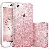 Coovertify Funda Purpurina Brillante Rosa iPhone 7, Carcasa Resistente de Gel Silicona con Brillo para Apple iPhone 7 (4,7')