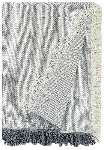 Martina Home Espiga Foulard Multiusos, 80% Algodón, 20% Poliéster, Crudo/Gris, 130 x 180 cm