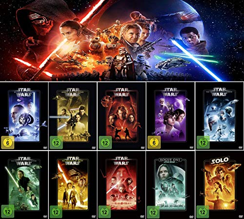 Star Wars Paket 1 - 8 + Rogue One: A Star Wars Story + Solo: A Star Wars Story [10-DVD]