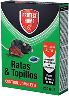 comprar comparacion Protect Home Raticida en Pasta para Ratas y Topillos, Infestación Alta, Contról Completo, 20 dosis de 10gr, Azul