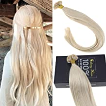 Sunny Straight Remy Platinum Blonde U Tip Fusion Hair Extensions Human Hair-16 Inch(Col #60)Blonde U Tip Human Hair Extensions, 50g/pack 1G/S