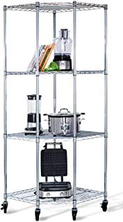Trinity EcoStorage 4-Tier NSF Corner Wire Shelving Rack with Wheels, 27 by 17 by 13 by 17 by 72-Inch, Chrome