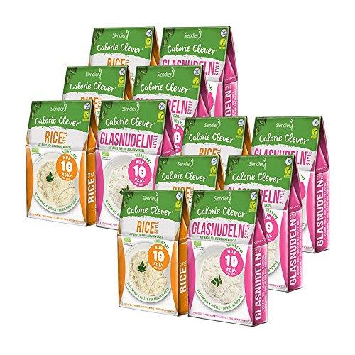 12 x Slendier Bio Konjak Nudeln . Probierpaket Energie . 6 x Glasnudel-Style 250 g + 6 x Rice-Style 250 g . Shirataki Nudeln . Bio-Qualität