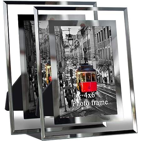 Giftgarden Cadre Photo en Verre 10 x 15cm, Lot de 2 Cadre Transparent en Verre à Poser sur la Table