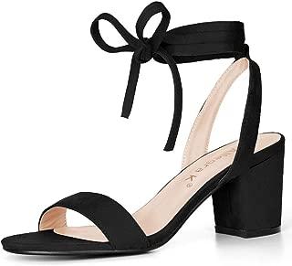 Allegra K Women's Mid Block Heel Ankle Tie Sandals