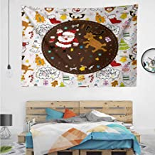 HuaWuChou Dancing Santa Deer Tapestry Small, Tapestry for Living Room Bedroom Dorm Room, 36W x 24L Inches