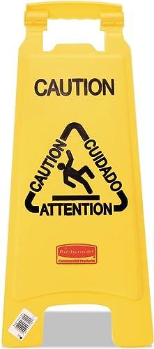 "Rubbermaid 611200YW Multilingual""Caution"" Floor Sign, Plastic, 11 x 1 1/2 x 26, Bright Yellow"