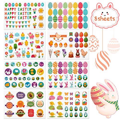 Kesote Sticker Ostern Aufkleber Kinder Etiketten Selbstklebend Eier Frühling Osterhase zum Basteln Karten Geschenk Mitgebsel