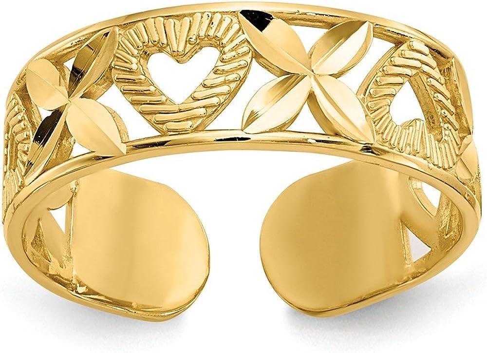 Solid 14k Yellow Gold Diamond-Cut X & Heart Toe Ring (5mm)