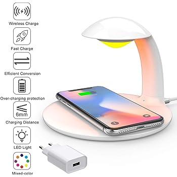 AURSEN Chargeur sans Fil Rapide avec Lampe de Chevet LED Touch Portable, Chargeur à Induction 10W7,5W pour Samsung S6 S7 S6+ S7+ S8 S9 S8+ S9+ S10