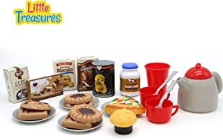 Tasty Treats Play Food Snack Set – 24 pcs Tea with Fresh Milk, Coffee Beans, Sugar, Biscuits, Chocolate ice Cream, Pizza & Potato Chips, a Kettle and a Pair of Cups, Saucers and Spoons, for 3+ Kids