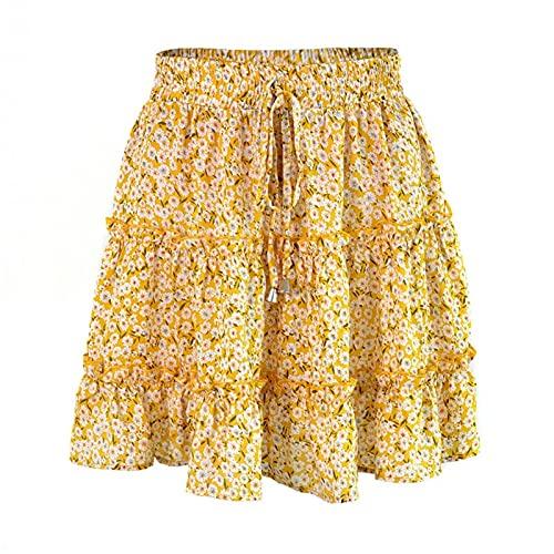 DHDHWL spódnica Letnie spódnice kobiety małe kwiaty wysokiej talii wakacje casual krótki mini spódnice moda drukuj plaży ubrania dziewczyna minispódniczka (Color : Yellow, Size : XXL)
