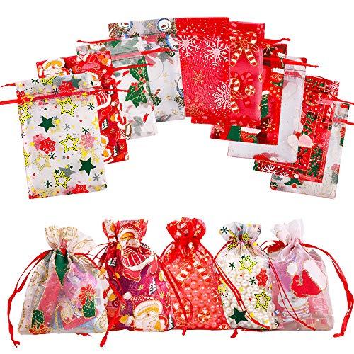 Gudotra 50 pcs Bolsas de Organza de Navidad Bolisita para Regalos Bolsitas Favores para Cumpleaños...