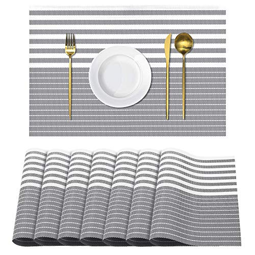 UMORNING Place Mats Set of 8 Heat Insulation Stain Resistant Placemats for Dining Table Durable Cross Weave Woven Vinyl Kitchen Table Mats Placemat Gray Strips