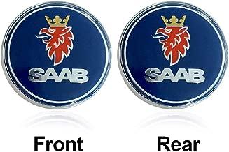 Bearfire 2pcs Hot sale 68mm Blue SAAB logo car front hood bonnet emblem rear badge sticker for 03-10 Saab 9-3 9-5 93 95