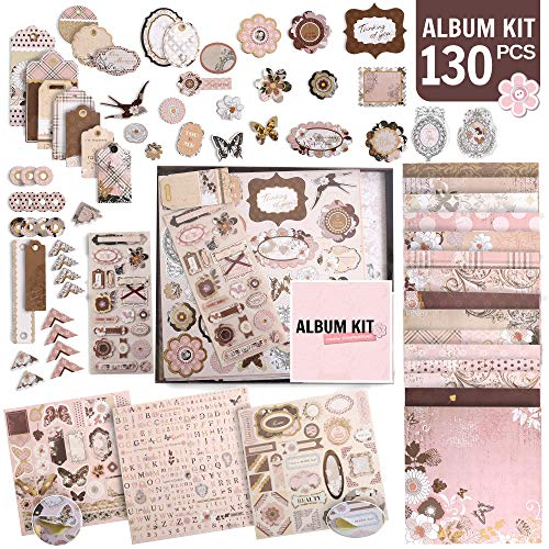 PICKME#039s DIY Vintage Scrapbook Kits for Adults amp Kids Hardcover Scrapbook Album Including Stationery Set with Gold Embossed Stickers Decorative Ribbons amp Journaling Supplies 12quot x 12quot 130Pc