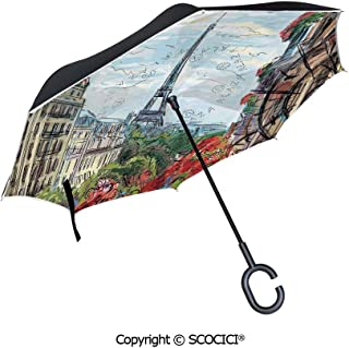 SCOCICI Reverse Umbrella,Halloween Related Pictures Drawn by Hand Raven Owl Spider Black Cat Decorative Umbrellas for Women with UV Protection,Upside Down Umbrella with C-Shaped Handle