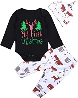 Christmas Outfits Baby Boy Girl Clothes My First Christmas Romper,Retro Deer Bear Pants+Hat&Headband Set