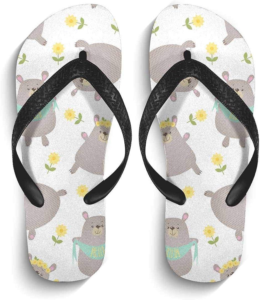 InterestPrint Men's Non-Slip Flip Flops Sandal Funny Cartoon Bears Summer Beach Thong Slippers S