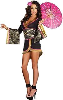 Dreamgirl Women's Asian Persuasion Dress, Black/Gold/Pink, Medium