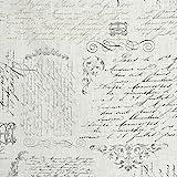 Tela de ramio y algodón suave - Pergamino ~ colores carbón, gris medio y oro antiguo (sobre un fondo blanco) - 92% ramio con 8% algodón | ancho: 150 cm (por metro lineal)*