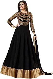 e6bdef8d3 Luxury World Women s Black Color Heavy Embroidered Work Bridal Anarkali Gown  With Diamond Work(Free