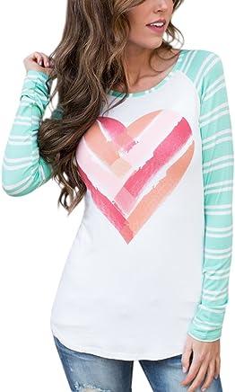 3ad181f774 Lovaru Womens Tunic Tops Valentine s Day Heart Print Striped Long Sleeve T  Shirt Blouse