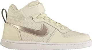 Official Nike Court Boro Mid Top Trainers Junior Girls Grey/Bronze Shoes Footwear