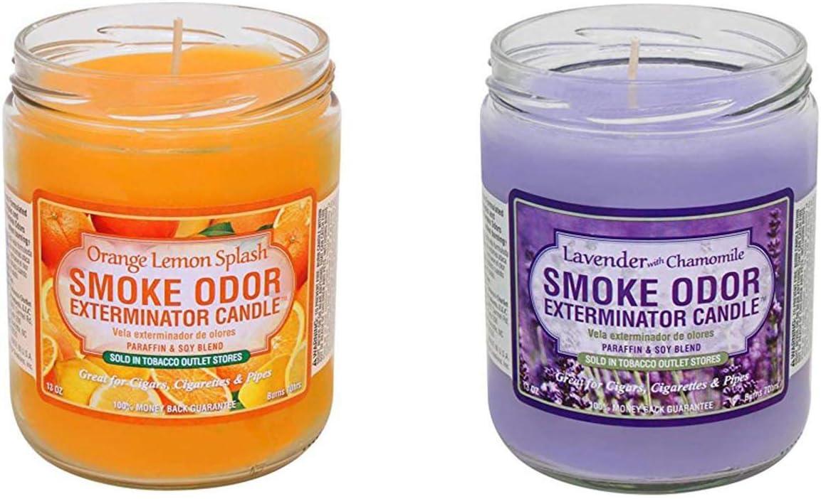 Smoke Odor Exterminator Candle Orange Oz Lemon Splash with 13 gift unisex