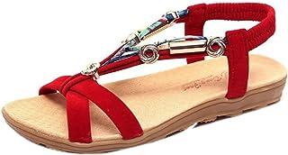 OHQ Sandalias Romanas Mujer Verano Gran TamañO De Mujer Zapatos Bajos Bohemia Chanclas Sandalias De Estilo Informal De Rom...