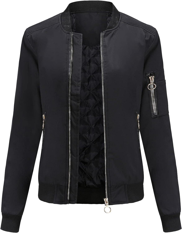 Bidobibo Womens Bomber Jacket Casual Coat Lapel Zipper Sweatshirt Waterproof Breathable Rain Jacket Coat with Pockets