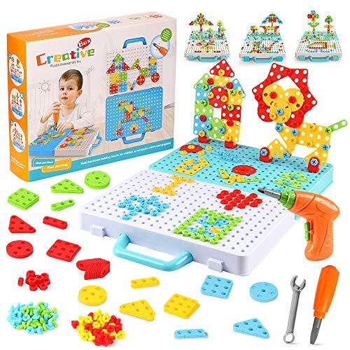 Puzzle 3D Mosaico Infantiles,276 PCS Juego Tornillos Niños Eléctrico,Juguetes Montessori 3 Años Motricidad, Juegos Educativos Niños 3+ Años, Rompecabezas Regalos, Bloques Construccion Herramientas (A)