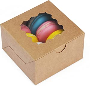 BagDream 30PCS 4x4x2.5 Small Bakery Boxes with Window Cupcake Boxes Cookie Boxes Treat Boxes Brown Paper Cardboard Gift Boxes for Pastry, Mini Cake, Dessert