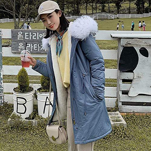 WAY Jassen Winterjas Vrouwen Kraag Hoed Katoen Kledingstuk Dames Medium en Lange Koreaanse Editie van Verdikking Jas, Blauw, M