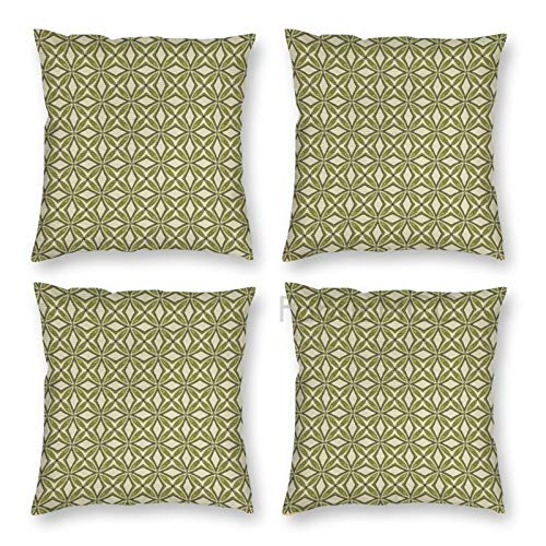 Pillow Covers 18 x 18 Inch Set of 4, Abstract Print of Floral Inspired Elements Geometric Ornamental Layout, Green Khaki Decorative Throw Pillow Case Cushion Cover for Sofa Couch Sofa Home Decor