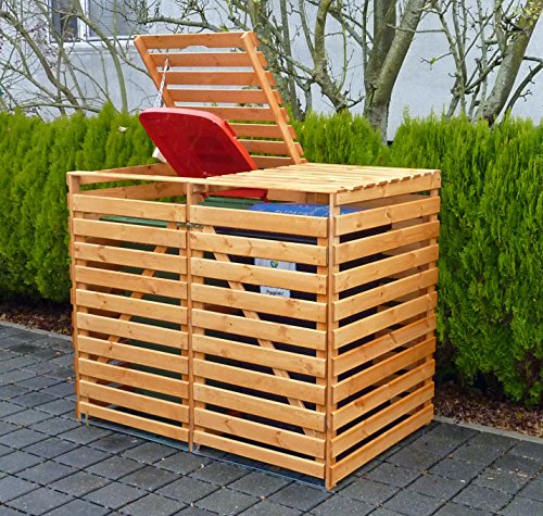 Promadino Mülltonnenbox Vario V für 2 Tonnen honigbraun