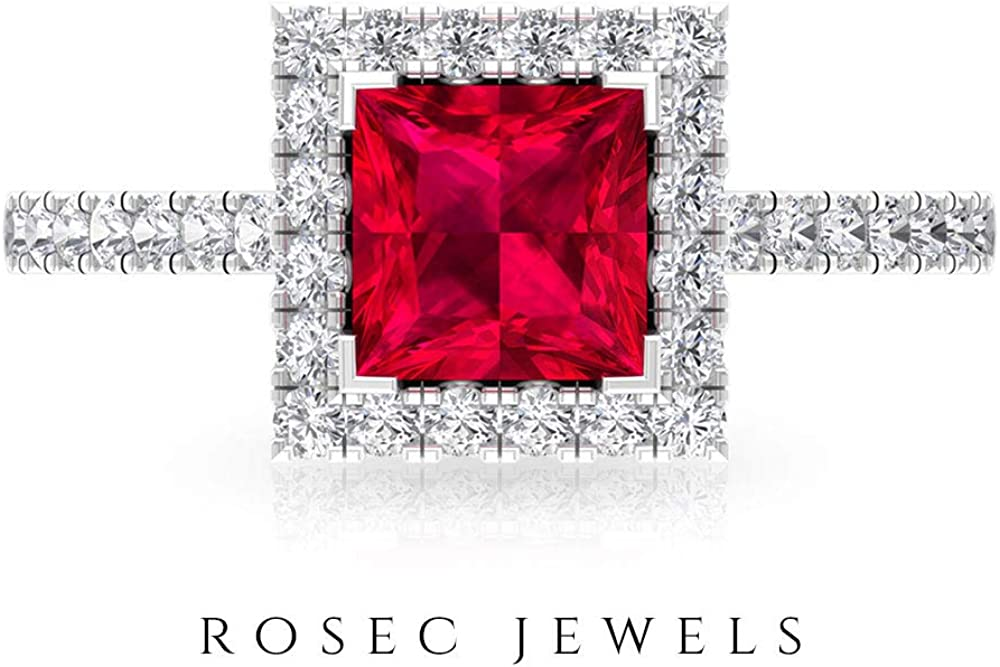 6 MM Glass Filled Ruby Princess Cut Ring, D-VSSI Moissanite Halo Engagement Ring, Solid Gold Solitaire Ring with Side Stones, 14K White Gold, Moissanite, Size:US 3.5