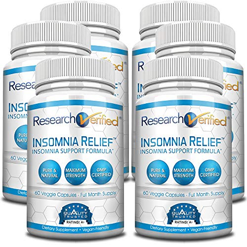 Research Verified Insomnia Relief - Best Insomnia Relief Supplement - with L-ornithine, Melatonin and Valerian Root - Natural Sleep Aid for Insomnia Relief - 6 Months Supply