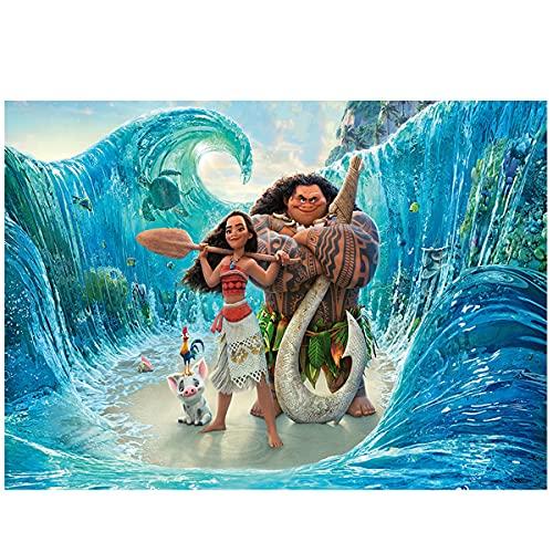 150 cm x 100 cm Moana Maui Telón de Fondo para Niños, Dibujos Animados Playa Moana Maui Playa Fotografía Fondo Moana Cumpleaños Fiesta Decoraciones Baby Shower Cumpleaños Fiesta Telones