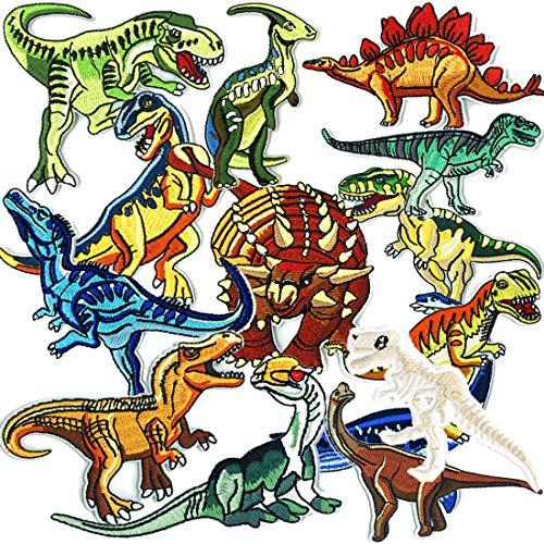 Joyfeel's Store Strijk op patches,15 stuks geborduurde dinosauruspatches Applique Kit diverse grootte decoratie naaien…