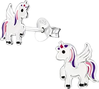 Hypoallergenic Sterling Silver Prancing Unicorn with Wings Earrings for Kids (Nickel Free)