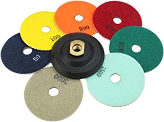 JDK 4 Inch Diamond Polishing pad Wet/Dry 100mm Grinding Disc for Marble Granite Countertop Travertine Terrazzo with 5/8''-11 Thread Rubber Backer