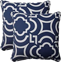 Pillow Perfect Outdoor | Indoor Carmody Navy 16.5 Inch Throw Pillow, 16.5 X 16.5 X 5, Blue