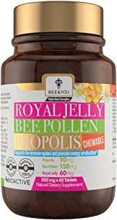 BEE and You Royal Jelly + Propolis + Bee Pollen Chewable Tablets - No Artificial Flavor - No Preservatives - No Added Suga...