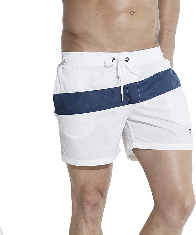 DESMIIT Men's Light Pocket Board Shorts Drawstring Swimming Beachwear Also for Gym