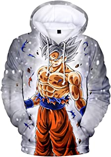 Silver Basic Boy's Novelty Hoodies Teen's Sweatshirt 3D Printed Japanese Anime Pullover with Dragon Ball
