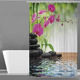 Bathtub Splash Guard,Spa Composition Bamboo Tree Floor Mat Orchid Stones Wellness Greenery,Art Print Polyester,W48x72L Fuchsia Charcoal Grey Lime Green