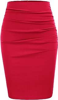 Femme Extensible Femmes Uni Crayon Tube Long Bureau Midi Jupe Grande Taille wigglel